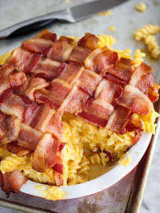 Bacon Weave Pasta Pies - This DudeFoods Colby Jack Mac and Cheese Pie has an Impressive Bacon Crust