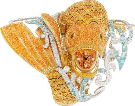 Opulent Fish Watches - Van Cleef and Arpels is Made Out of Diamonds, Sapphires and Garnets