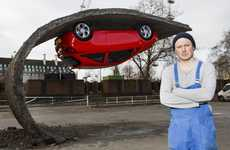 Upside Down Car Installatoins - Alex Chinneck & Vauxhall Collaborated For This Dizzying Installation
