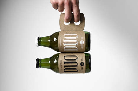 Siamese Beverage Sleeves - This Double Beer Carrier is Resourceful in Both Material and Function