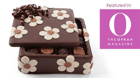 Literal Chocolate Boxes - This Flower-Inspired Gourmet Chocolate Box is Made Out of Dark Chocolate