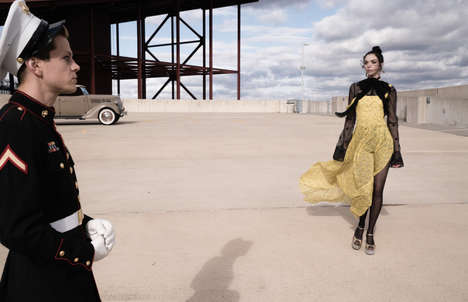Romantic Military Editorials - Mariacarla Boscono Stars in the W Magazine March Issue