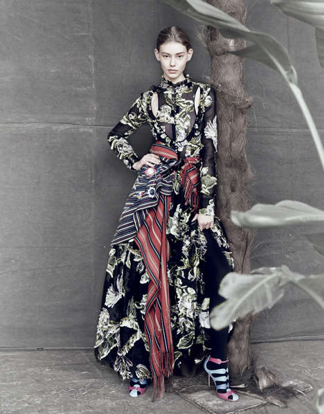 Layered Floral Editorials - Ondria Hardin Stars in the March Issue of Vogue Japan