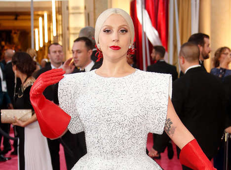 Couture Rubber Glove Ensembles - This Lady Gaga Oscars Dress is Paired with Rubberized Gloves