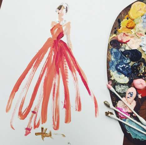 Fashionable Q-tips Drawings - Katie Rodgers of Paperfashion Unorthdoxly Illustrates Oscar Dresses