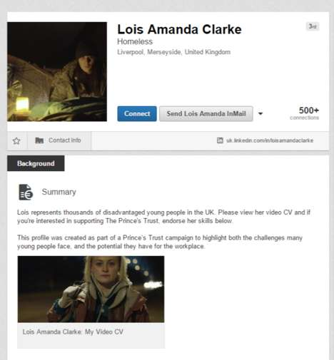 Underprivileged Networking Stunts - This Charity Marketing Stunt Involves a Mock Profile on LinkedIn