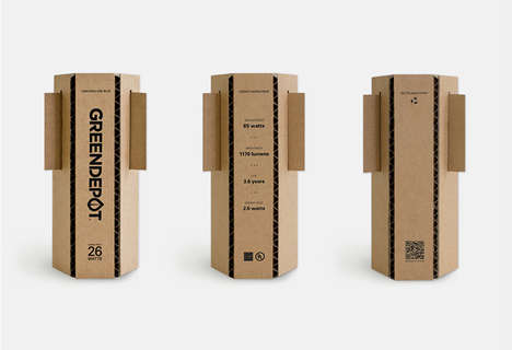 Green Light Globe Boxes - Eco Light Bulb Packaging Uses Materials Resourcefully and Eschews Glue