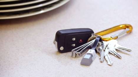 Portable USB Charging Cables - The Sparrow Flash Drive and Charger Sits On Your Key Chain