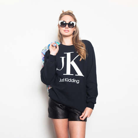 "Designer Slang Sweaters - The JK Sweatshirt is ""Just Kidding"" About the Calvin Klein Logo"