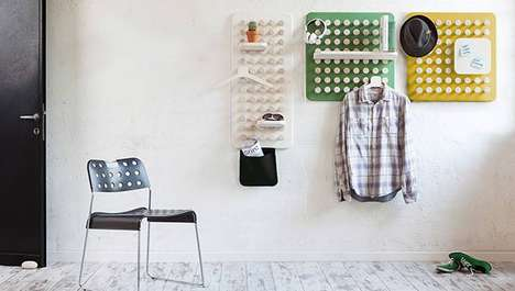 Adaptable Knob Organizers - This Pegboard Shelf Offers Practicality in Its Open Customizability