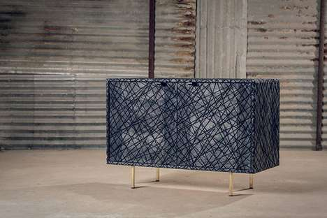 Striking Scratched Furniture - Black Scars Cabinet is Etched Entirely with Slashes Over Its Surface