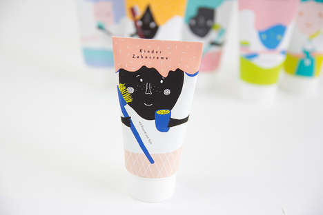 Adorable Animated Packages - Kinder Toothpaste Packaging Has an Interactive Illustrated Element