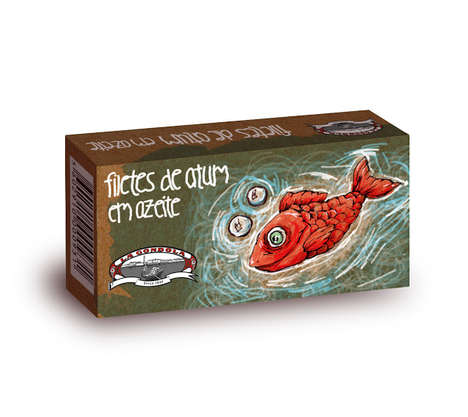 Hypnotic Fish Packaging - A 'Tuna for Kids' Product is Labeled with a Mesmerizing Scaly Illustration
