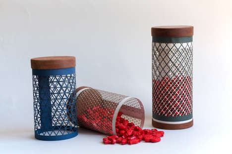 Intricate Net Packaging - These Mesh Cylinders Present a Unique Method for Holding Products