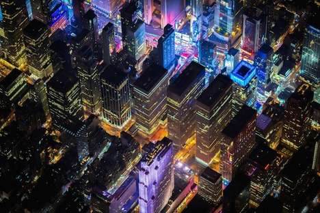Neon Metropolis Portraits - This Aerial Photography Series Captures New York City at Night