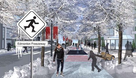 Frozen Walkway Concepts - The Edmonton Freezeway is Designed to Get People Moving During Winter