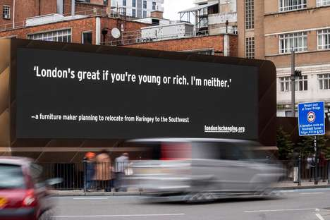 Londoner Narrative Billboards - This Billboard Campaign Tells the Sad Stories of Former Londoners
