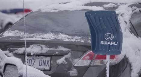 Branded Snow Shovels - Subaru's Winter Marketing Stunt Provides Shovels to Non-Subaru Drivers
