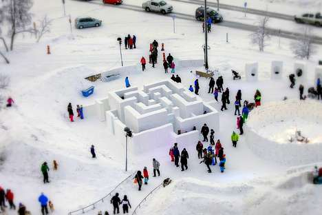 Sculptural Snow Mazes - Sweden's Wintry Maze Encourages Outdoor Play in Adults and Kids
