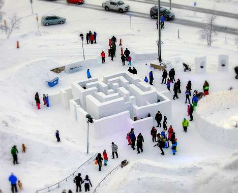 Sculptural Snow Mazes