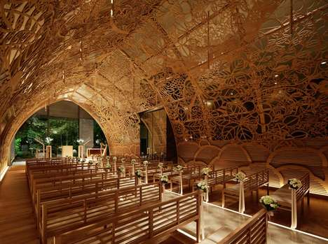 Cavernous Hand-Carved Chapels - This Quaint Hiroshima Chapel by Nikken Space Design was Handmade
