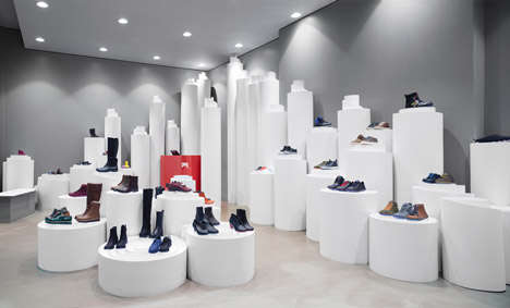 Paper Retail Fixtures - The Camper Stockholm Store Features White Podiums to Display Product