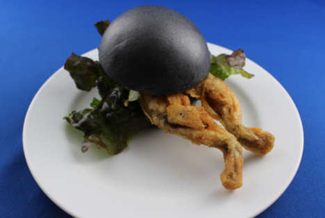 Black Frog Burgers - Orbi Yokohama's Black Burger Bun Encases Deep-Fried Frog Meat