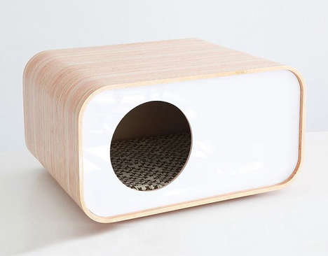 Contemporary Cat Houses - This Wooden Cat Cave Boasts a Modern Design Aesthetic