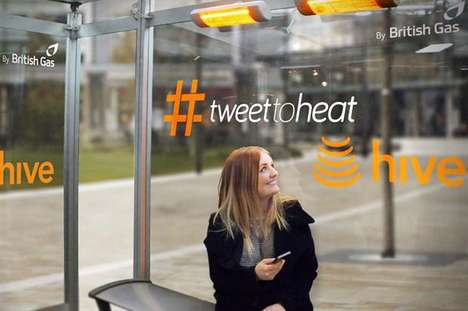 Social Warming Stations - Hive's Bus Shelter Ad Trades Tweets for Heat