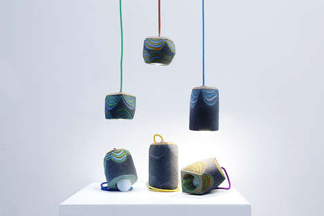 Layered Felt Lighting - Feltology by Lorenzo Polo Boasts Psychedelic Patterns and Sculptural Appeal