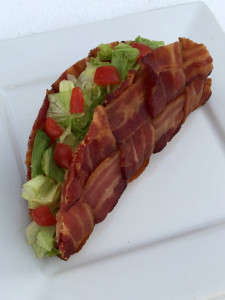 Latticed BLT Tacos - DudeFoods's Bacon Weave Tacos are Filled with Chopped Lettuce and Tomatoes