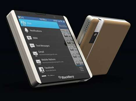 Square Smartphone Designs - The BlackBerry L Reimagines the Rotary Slider for a Retractable Keyboard