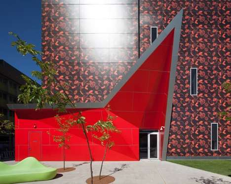 Piercing Crimson Architecture - The PathWest Research Lab is Located in the Australian Nedlands