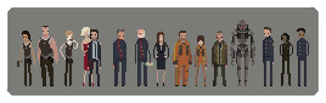 Sci-Fi Pixel Prints - This Battlestar Galactica Artwork Features Pixelated Renderings of the Cast