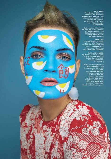 Artistic Makeup Photography - Sunday Times Style's Painted Lady Editorial Features Vibrant Cosmetics