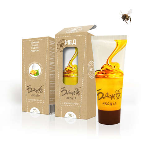 Squeezable Honey Tubes - Affiniti's Honey Package Design Trades in a Glass Jar for a Plastic Tube