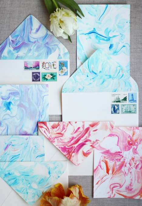 Marbled Paper DIYs - Honestly WTF's Latest Craft Project Creates Beautiful Stationary Sets