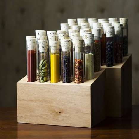 Handcrafted Seasoning Holders - The Spiceologist Blocks Shelve Tubes of Fresh Culinary Essentials
