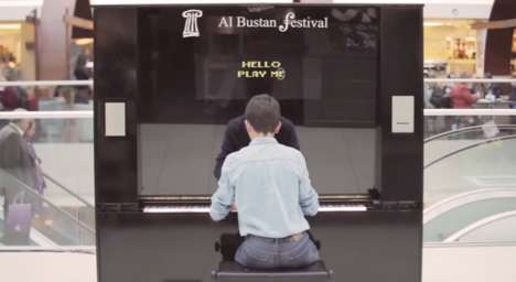 Judgemental Public Pianos - This Al Bustan Festival Marketing Stunt Draws Crowds with a Chatty Piano