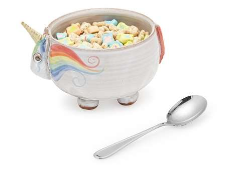 Mythical Cereal Bowls - This Cute Bowl from UncommonGoods is Shaped to Look Like a Rotund Unicorn