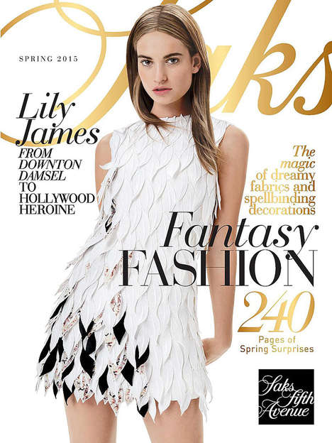 Modern Fairy Tale Fashion - Actress Lily James Channels Cinderella for Saks Fifth Avenue's Magalog
