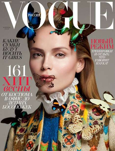 Insect-Clad Supermodel Covers - The Natasha Poly Vogue Russia Story is Eclectic and Ethnic