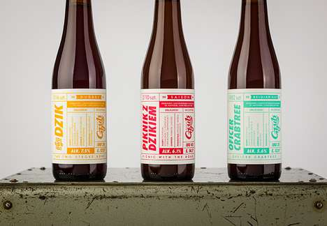 Retro Beer Branding - The Gzub Craft Brewing Packaging is Highly Detailed and Colorful