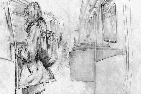 Public Transit Art Exhibits - 'Sketching the Line' Features Beautiful Drawings of Daily Commuters