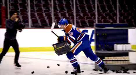 Shopping Shootout Contests - Visa Has NHL Stars Participate in a Bizarre Hockey Competition