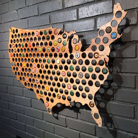 Bottle Cap Brew Maps - Beer Cap Maps Highlight the Craft Beer Scene Across the USA