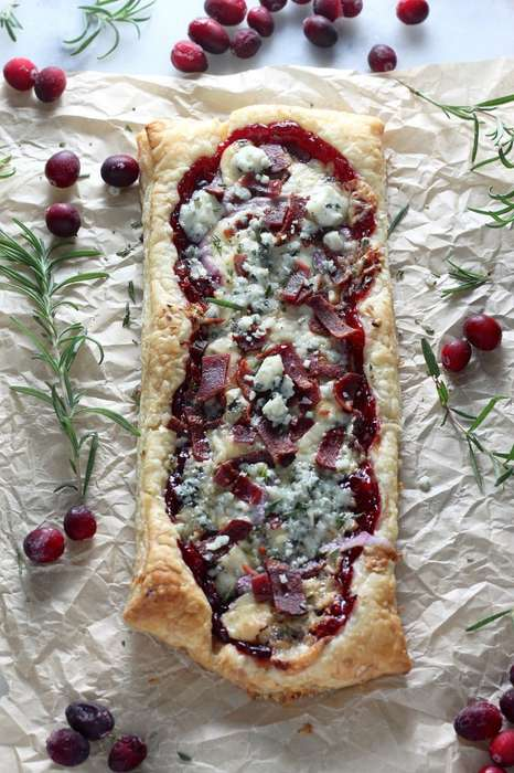 Puff Pastry Pizzas - Baker by Nature's Sweet Pizza is Topped with Cranberry Sauce