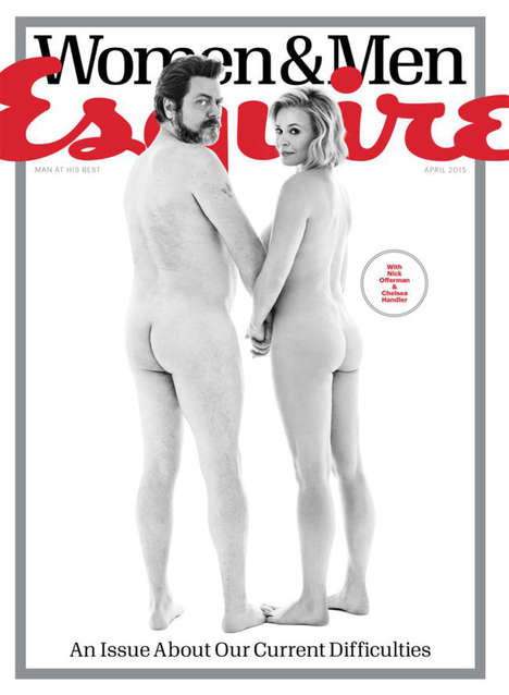 Bare Bum Covers - Chelsea Handler and Nick Offerman Drop Trou for Their Esquire Cover
