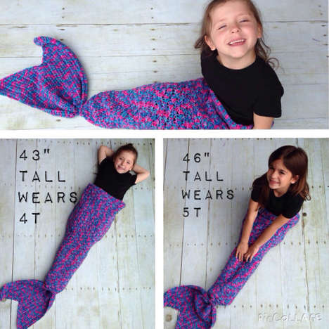 Knitted Fin Blankets - This Crochet Mermaid Tail is a Cozy Bundle Inspired by Fantasy Sea Creatures
