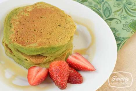 Spinach-Infused Holiday Pancakes - This Green-Hued Breakfast Meal Celebrates St. Patrick's Day
